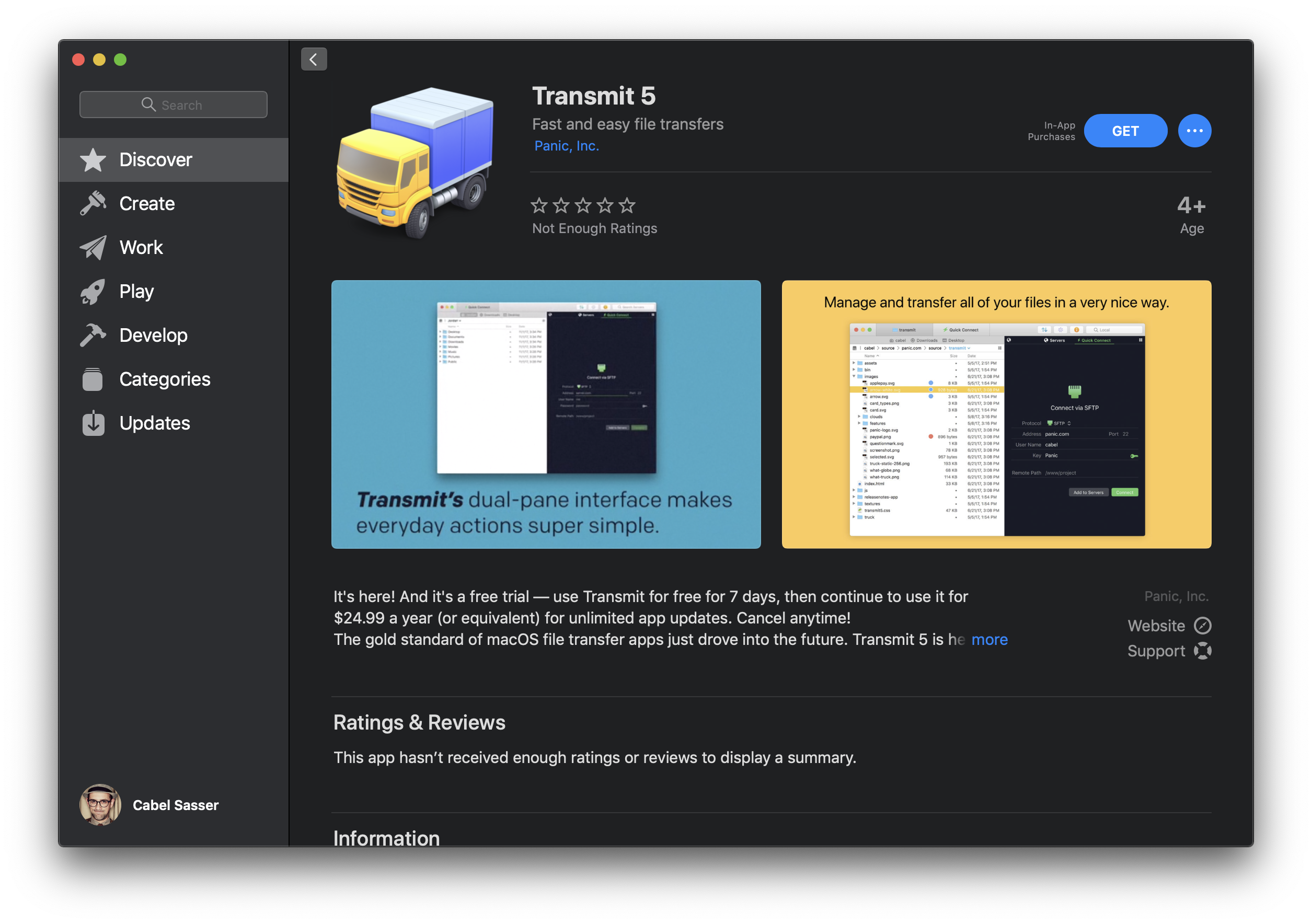 A screenshot of Transmit in the Mac App Store.