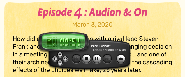 A screenshot of the podcast page, displaying audio controlled by an Audion face.