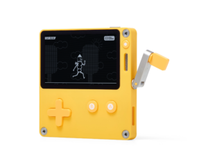 """A Playdate device with crank extended and screen displaying a still of the game """"Crankin's Time Travel Adventure"""""""